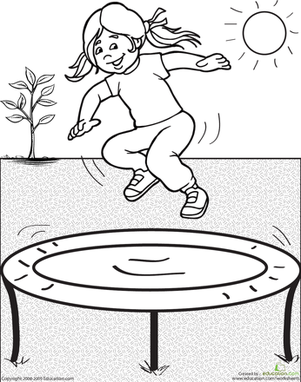 First Grade Coloring Worksheets: Color the Trampoline Scene