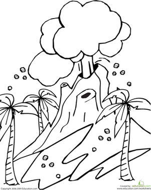 Kindergarten Coloring Worksheets: Volcano Coloring Page