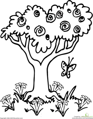 Kindergarten Holidays & Seasons Worksheets: Color the Springtime Tree