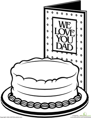 First Grade Holidays & Seasons Worksheets: Color the Father's Day Cake