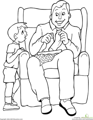 Kindergarten Holidays Worksheets: Color the Father's Day Moment
