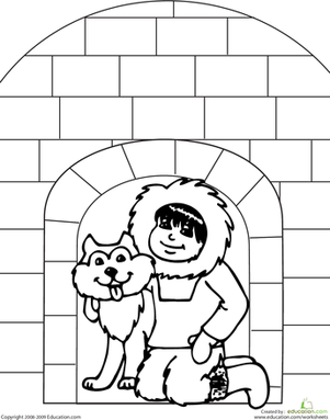 Kindergarten Coloring Worksheets: Color the Igloo