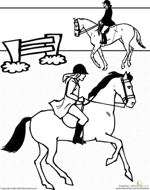 First Grade Coloring Worksheets: Horseback Riding Coloring Page