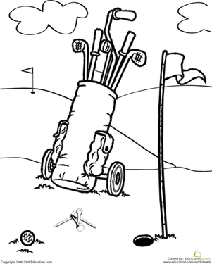 First Grade Coloring Worksheets: Color the Golf Clubs