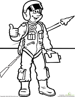 First Grade Coloring Worksheets: Color the Jet Pilot