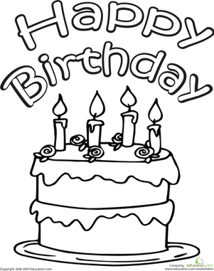 Kindergarten Holidays Worksheets: Color the Happy Birthday Cake
