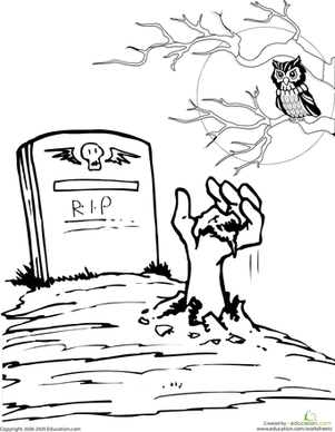 Second Grade Holidays Worksheets: Color the Spooky Grave