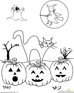 Second Grade Holidays & Seasons Worksheets: Color the Spooky Halloween Scene