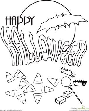 First Grade Holidays Worksheets: Color the Halloween Message