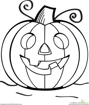 Preschool Holidays & Seasons Worksheets: Color the Grinning Jack O' Lantern