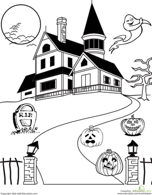 Haunted House Coloring | Worksheet | Education.com