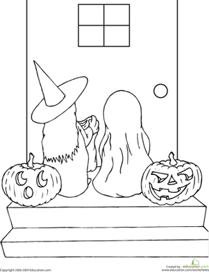 Kindergarten Holidays & Seasons Worksheets: Color the Trick or Treaters