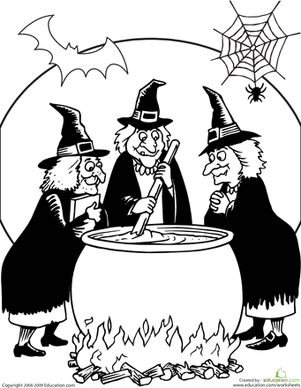 Toil and Trouble Coloring Page
