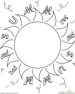Preschool Holidays & Seasons Worksheets: Color the Summer Sun