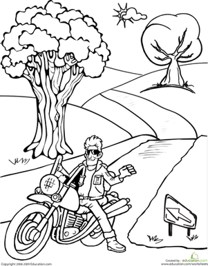 Second Grade Coloring Worksheets: Motorcycle Coloring Page