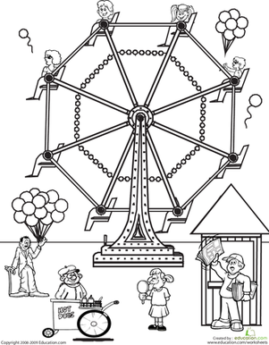 Second Grade Coloring Worksheets: Color the Carnival