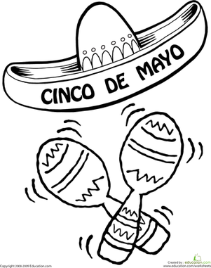 Preschool Holidays & Seasons Worksheets: Color the Cinco De Mayo Sombrero