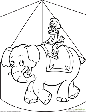 First Grade Coloring Worksheets: Circus Coloring Page
