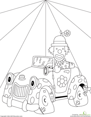 Second Grade Coloring Worksheets: Color the Clown Car