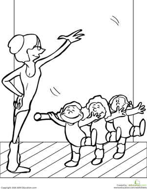 Kindergarten The Arts Worksheets: Color the Ballet Class