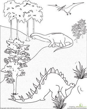 First Grade Coloring Worksheets: Dinosaur Coloring Page