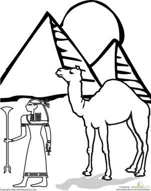 First Grade Coloring Worksheets: Egyptian Coloring Page