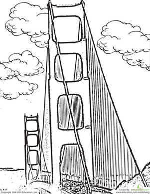 Kindergarten Coloring Worksheets: Color the Golden Gate Bridge