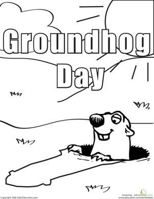 Kindergarten Holidays & Seasons Worksheets: Color the Groundhog Day Groundhog