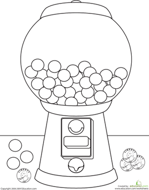 Kindergarten Coloring Worksheets: Color the Gumball Machine