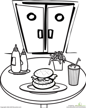 First Grade Coloring Worksheets: Color the Diner Food