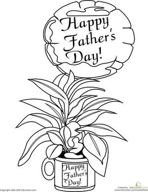 First Grade Holidays & Seasons Worksheets: Color the Father's Day Gift