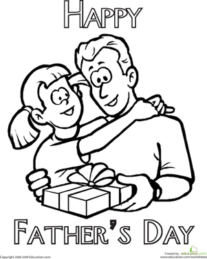 Second Grade Holidays Worksheets: Color the Father's Day Message
