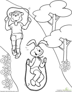 First Grade Coloring Worksheets: Color the Exercise Animals