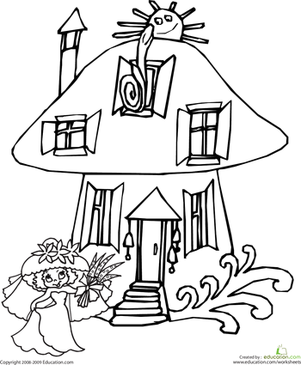 First Grade Coloring Worksheets: Color the Mushroom House