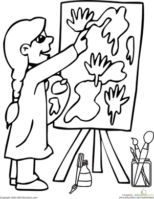 First Grade Coloring Worksheets: Color the Painter
