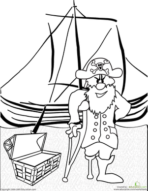 First Grade Coloring Worksheets: Color the Pirate Captain