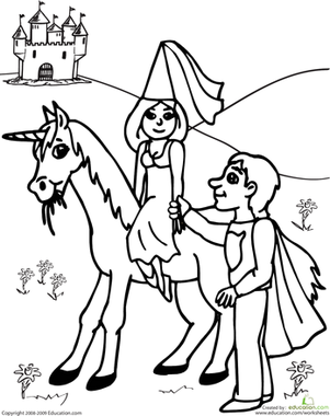 First Grade Coloring Worksheets: Color the Prince and Princess