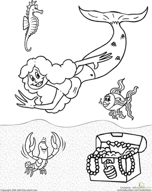 Second Grade Coloring Worksheets: Color the Mermaid