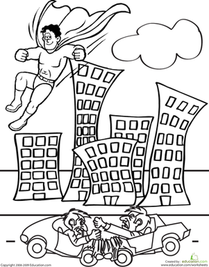 Second Grade Coloring Worksheets: Color the Superhero