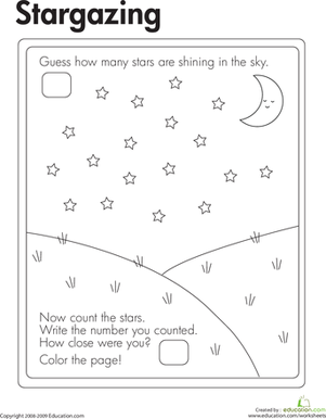 First Grade Math Worksheets: Stargazing Estimation