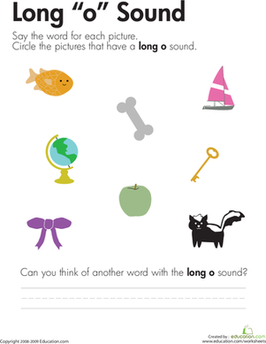 "First Grade Reading & Writing Worksheets: Long ""O"" Vowel Sounds"