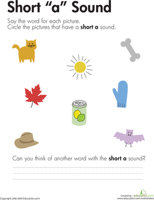 "First Grade Reading & Writing Worksheets: Short ""A"" Vowel"