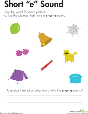 "First Grade Reading & Writing Worksheets: Short ""E"" Vowel"