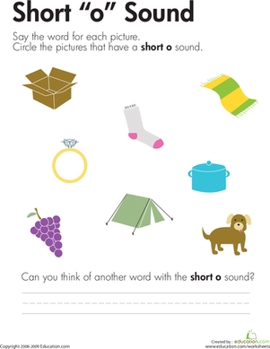 "Number Names Worksheets short vowel sound worksheets for first grade : Short ""O"" Vowel 