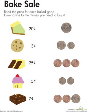 First Grade Math Worksheets: Counting Coins at the Bake Sale