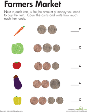 Counting Coins at the Farmers Market | Worksheet | Education.com