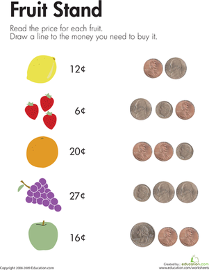 First Grade Math Worksheets: Counting Coins at the Fruit Stand