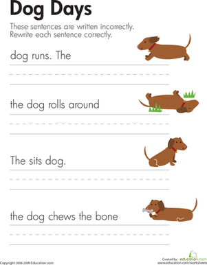 fix the sentences dog days worksheet. Black Bedroom Furniture Sets. Home Design Ideas
