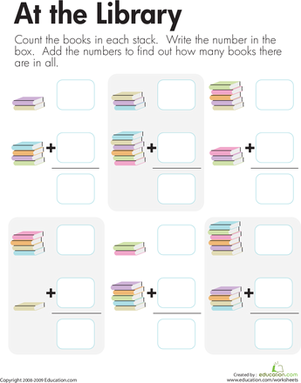 First Grade Math Worksheets: Library Addition: Adding Book Stacks