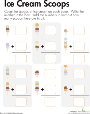 First Grade Math Worksheets: Count and Add the Scoops